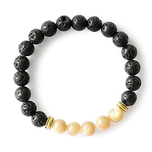 Mother of Pearl Lava Rock Beaded Bracelet Top Shell Gemstone 8mm Beads Stretchy Bracelets for Women Girls