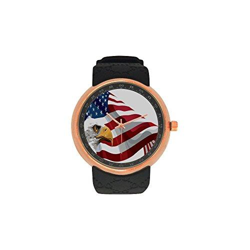 Novelty Gift US American Flag Bald Eagle Men's Rose Gold Plated Resin Strap - Round Glasses For Bald Face
