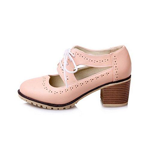 AllhqFashion Damen Gemischte Farbe Blend-Materialien Ziehen auf Rund Zehe Stiefel, Pink, 35