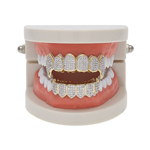 Fang Grillz Set (HongBoom Hip Hop 18k Gold Plated Vampire Teeth Fangs Grillz Caps Top & Bottom Dental Grill Set (Gold))