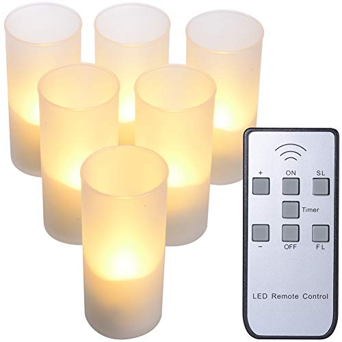 (PChero Rechargeable LED Tea Light Candles with Frosted Holders, Remote Control Flameless Flickering Tealight Votive Candles, Perfect for Home Wedding Party Bar Decor)
