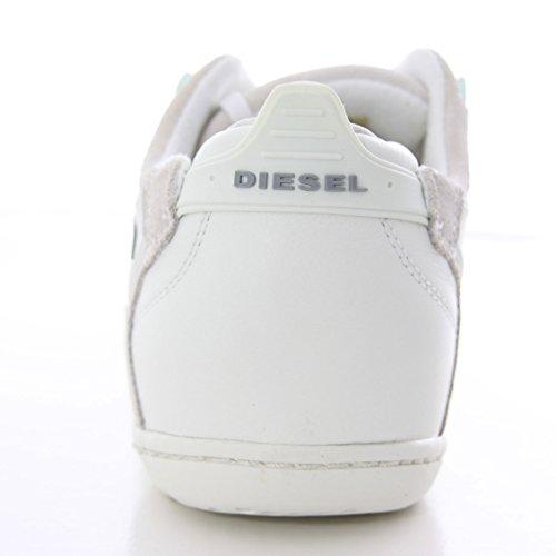 DIESEL baskets basses cuir homme SPYROCKET WHITE 00YF92 PR216 T1003 blanc T.43