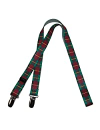 CTM Kids' Elastic One Piece Adjustable Plaid Mitten Clips, Red Plaid