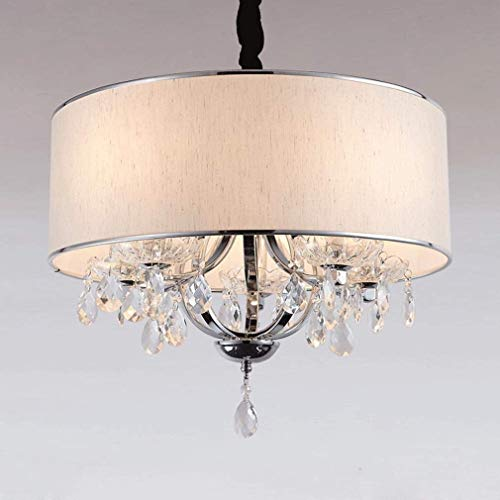 BOSSLV Height Adjustable Simple Chandelier 4 Light Chandelier Creative Elegant Crystal Cloth Chandelier Parlor Dining Hall Bedchamber Study Ceiling Lamp 45Cm E14 Largest, Beige