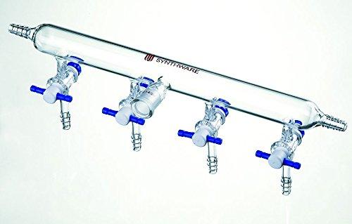 Kemtech America M211042 Synthware Nitrogen/Argon Manifold, PTFE Stopcock, Ports 4, Stopcock Bore 2mm, Left Right Hose Connection ()