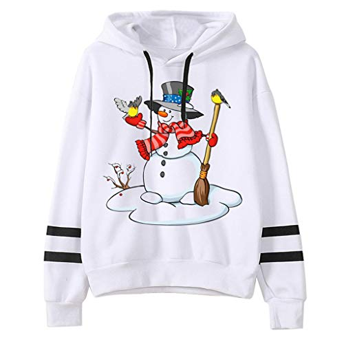 Yoyorule Top Happy Christmas Women Casual Loose Long Sleeve Solid Color Christmas Print Sweatshirt Tops Sweater