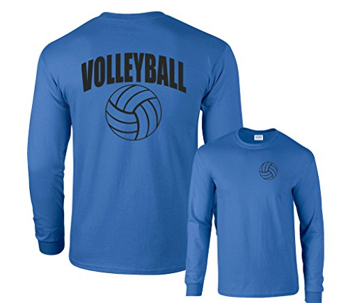 T-shirt Sleeve Volleyball Long (Fair Game Volleyball Arch Ball Long Sleeve T-Shirt-Royal Blue-XL)