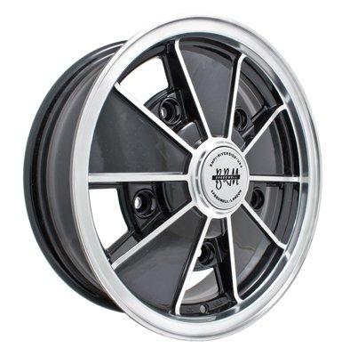 PREMIUM BRM WHEEL, Black With Polished Lip, 17x7'', 5 On 205mm VW