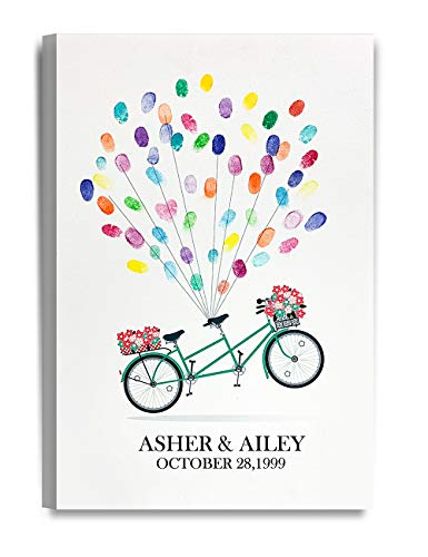(DECORARTS - Balloons Tandem Bicycle - Creative DIY Fingerprints Guest Book Canvas Artwork, Includes Personalized Names and Dates - Perfect for Wedding, Engagement and Graduation Party)