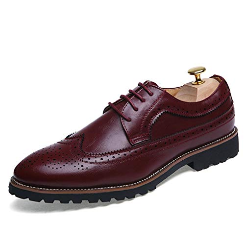 Mens Oxford Shoes Wear-Resistant Lace Up Pointed Toe Business Casual ()
