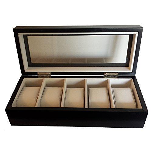 Zabelini Schwarz Uhrenbox für 5 Holz Optik