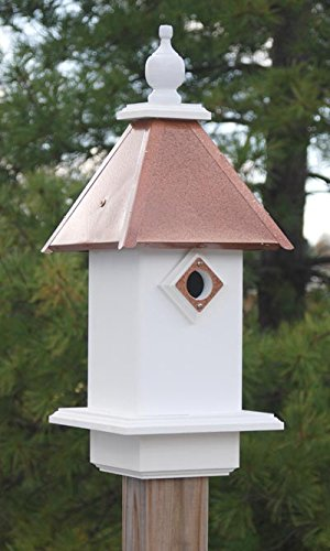 Wing & A Prayer Classic Bluebird House, Hammered Copper Colored (Blue Metal Roof)