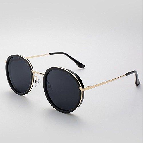Sol polarizadas Girl en Gafas Negro Sunglasses Metal Ronda Mujer de Gafas de Sol TL Black de fvROXwRq
