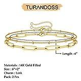 Dainty Layered Bracelets for Women, 14K Gold Filled