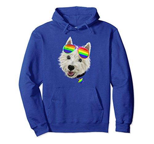 (Unisex Gay Pride Westie LGBT Dog Sunglasses Hoodie Medium Royal Blue)