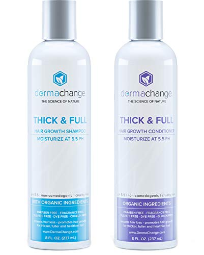 Organic Vegan Natural Hair Growth Shampoo and Conditioner Set - Sulfate Free - Hair Regrowth With Vitamins - Hair Loss Products - Color Treated or Curly Hair - For Women ()