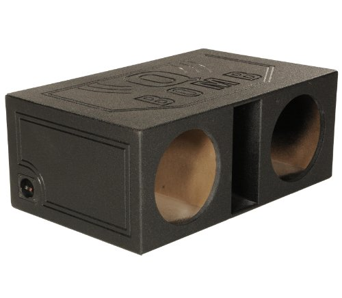 Q Power QBOMB12VL Dual 12-Inch SPL Vented Speaker Box with Durable Bed Liner Spray