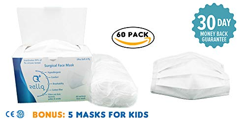 Disposable Face Masks for Flu, White Surgical Mask Earloop Medical Dental, Anti Allergy Premium Soft Four Layer Filter Sensitive Skin Care, Pollution Hypoallergenic Immune System,60PCS by RellQ