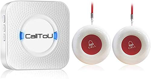 CallToU Wireless Caregiver Pager in Home Alert System Call Button for Elderly Patient Seniors Personal Nurse Attendant 1 Receivers+2 Emergency Transmitters