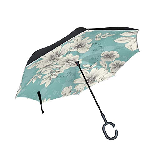 All agree Reverse Umbrella Light Blue Flower Inverted Umbrella Reversible for Golf Car Travel Rain Outdoor Black