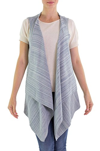 NOVICA Blue 100% Cotton Vest, Natural Glamour'