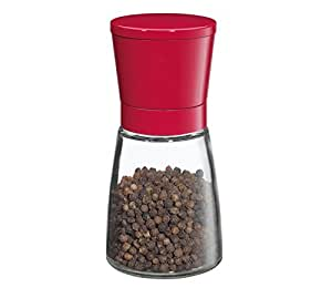 Cilio Brindisi Glass and Stainless Steel Spice & Pepper Mill, Red