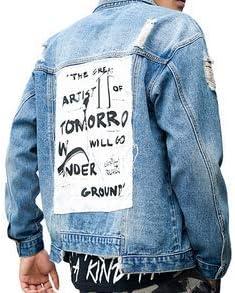 Distressed Denim Jacket with Custom Design