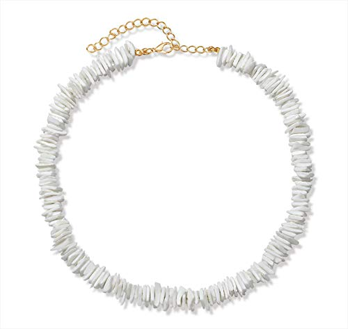 VOGUEKNOCK Puka Shell Necklace for Women Boho Tropical Hawaiian Beach Puka Chips Shell Surfer Choker Necklace Jewelry Mens Womens (White Choker) Color Natural Necklace Shell Beads