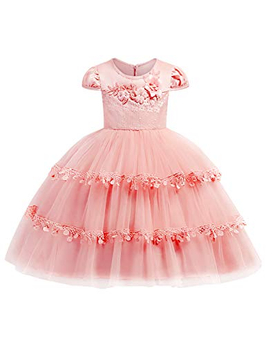JOYMOM Jr Flower Girl Dress, Teen Girls Sleeved Round Neck Lined Empire Waist Bubble Skirt Solid Back Zipper Embroidery Guipure Trim Dress Ball Yule Ester Dresses Pink 150 (9-10Years)