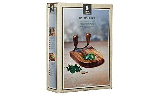 KitchenCraft Natural Elements Double Mezzaluna Hachoir Knife with Wooden Herb Chopping Board