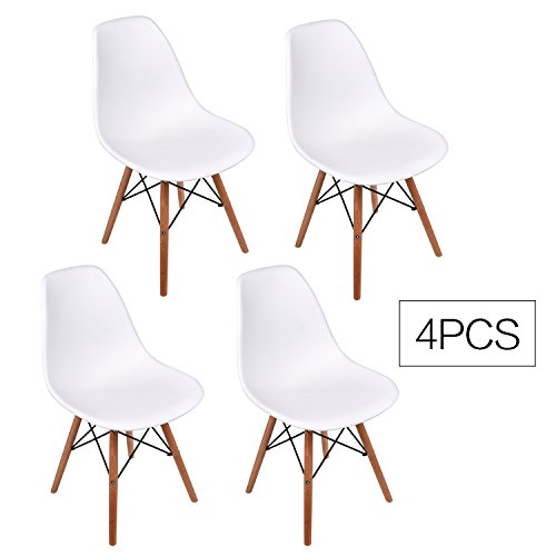 Elecwish Set of 4 Eiffel Style Side Dining Chair, ELERANBE 17.8″ Height Armless Accent Chairs with Eiffel Natural Beech Wood Base Legs, for Dining Room Waiting Room Bedroom Kitchen (White 4 pcs)