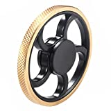 Round Wheel Golden Brass Fidget Hand Spinner Diamond Tread EDC Focus Help Anti-Anxiety Finger Toy, Fidget Work Ultra Fast Bearings, Relax for Children and Adults Great Gift
