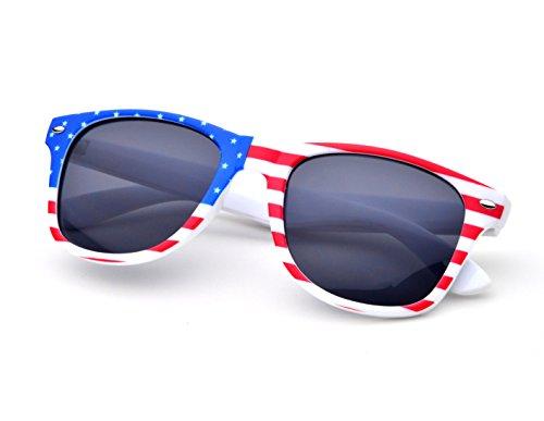 REINDEAR Premium Unisex Patriotic Flag Wayfarer Style Sunglasses (American - American Flag Wayfarers