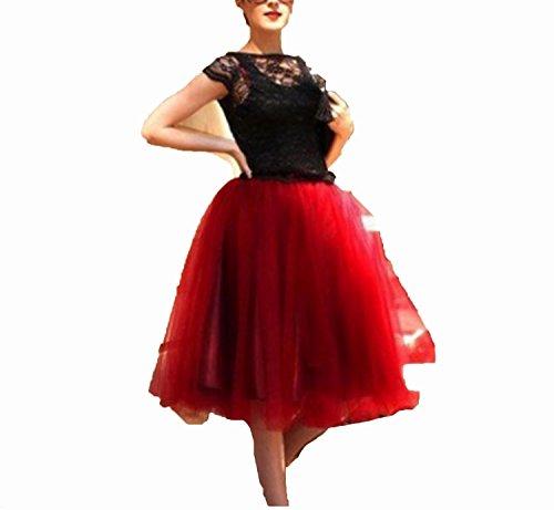 better-caress Midi Tulle Skirts Womens Fashion Pleated Skirt Elegant Wedding Vintage Lolita,red Wine,One Size