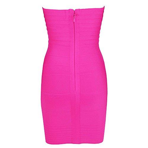 Brillante Bodycon Hlbandage Women's Rosa Bandage Mini Strapless Sexy Dress qAgAwS6PZ
