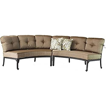 Amazoncom cast aluminum curved outdoor sofa elisabeth 2 for Curved sectional sofa amazon