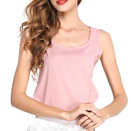 Sciolta Moda Donne Top Rosa liquidazione di Puro Vendita Chiffon Estate Top Collo Piebo Blusa Confortevole Elegante Colore O Vest Maniche Senza Maglietta aqdRwOWW