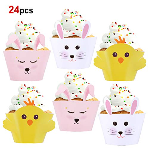 Konsait 24 Pack Bunny Chicks Cupcake Wrappers Toppers, Animal Party Decorations, Reversible Easter Cupcake Wrappers Cake Table Decorations Party Supplies for Kids Birthday Party Easter Decorations -