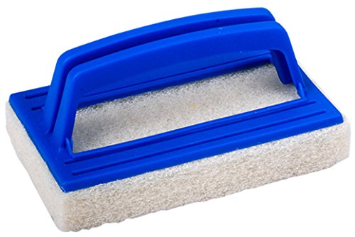 Pooline Fixed Scrubber Fine Grade Pad on Molded Handle -Blue Handle and White (Fixed Scrubber)