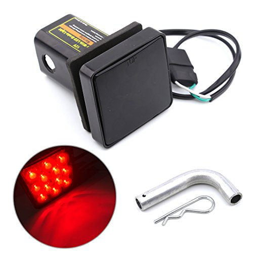 Lowest Price! Keyecu 12 LED Red Tail Brake Light with 2 Smoke Lense Trailer Hitch Receiver Cover fo...
