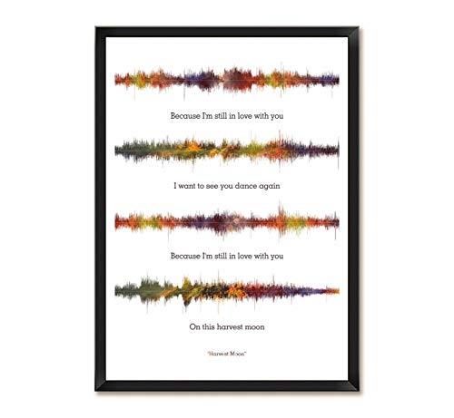 LAB NO 4 Neil Young Harvest Moon Song Soundwave Lyrics Music Framed Poster (Paper, (11