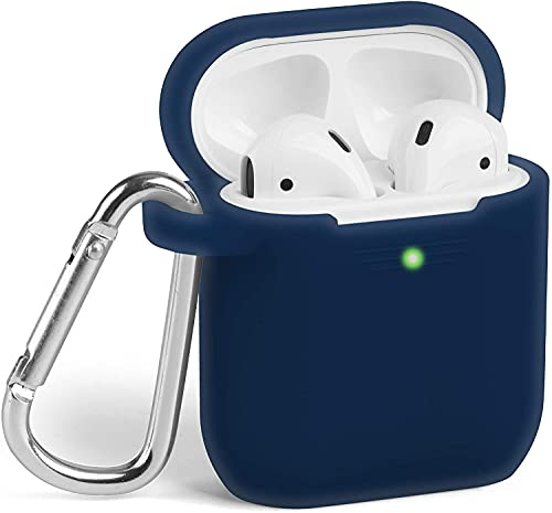 iwon Silicone Shock Proof Protection Sleeve Skin / Tough Cover Case Compatible with AirPods (2 & 1) /Case Cover for AirPods Wireless Headset Headphones Earphone(Device Not Included) (Navy Blue)