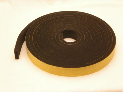 Rubber-Stuff Neoprene Rubber Self Adhesive Strip 50MM Wide X 25MM Thick X 2M Long (Black With Yellow Backing Tape)