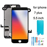 recyco Screen Replacement for iPhone 7 Plus with Front Camera+ Earpiece+Proximity Sensor+ Repair Tools 3D LCD Touch Display Digitizer Assembly Replacement Black