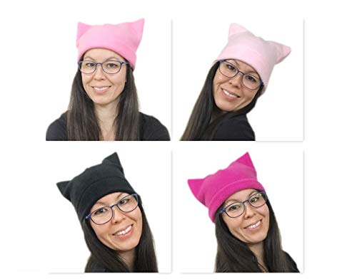 Bianna Creations Pussy Cat Hat Women's March | Single layer Beanie | Cute Pussyhat | Hat with Ears | CHOOSE YOUR SIZE and COLOR! Fits kids adults Plus Sizes | Alternative pink pussycat hat for men