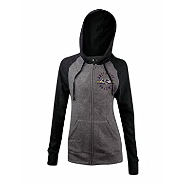 NFL Baltimore Ravens Women's Tri-Blend Fleece Zip Up Hoodie with Pockets, X-Large, Gray