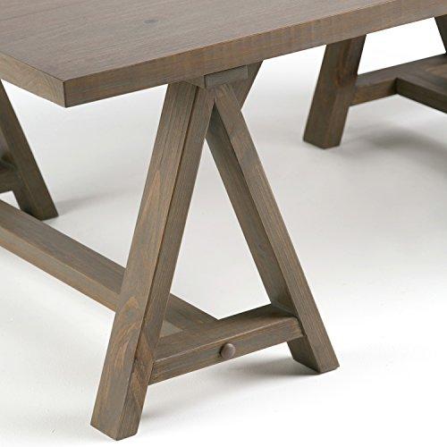 Grey Solid Wood Coffee Table: Simpli Home 3AXCSAW-01-GR Sawhorse Solid Wood 48 Inch Wide