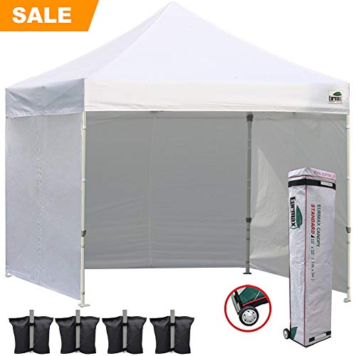 Eurmax 10×10 Ez Pop Up Canopy Outdoor Canopy Instant Tent with 4 Zipper Sidewalls and Roller Bag,Bouns 4 Weight Bags White