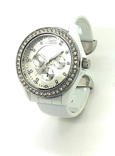 Ladies Elegant Patent Leather Bangle Cuff Fashion Watch Rhinestones (White) ()
