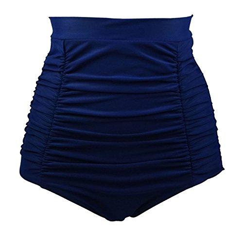 COCOSHIP Navy Blue Women's Retro Solids High Waisted Bikini Bottom Ruched Swim Short Tankinis XL(FBA) (Bikini Monroe Bottom)